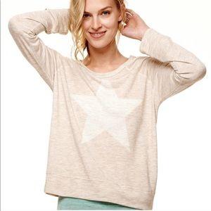 Sundry Star Pullover Sweatshirt in Natural